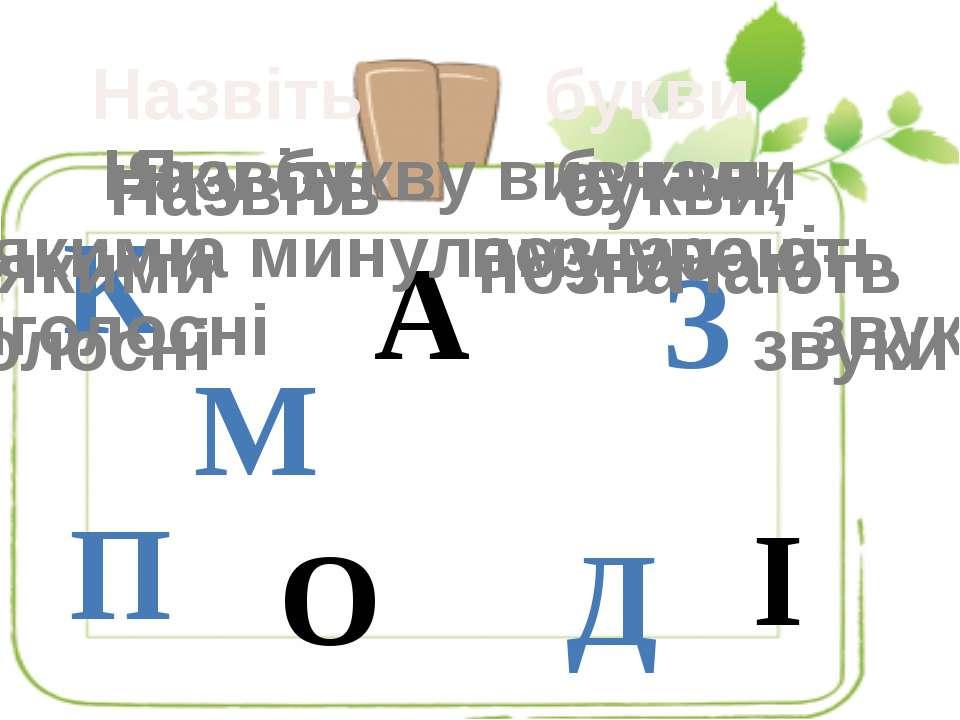 К А М О Д П З І Ь Назвіть букви Назвіть букви, якими позначають приголосні зв...