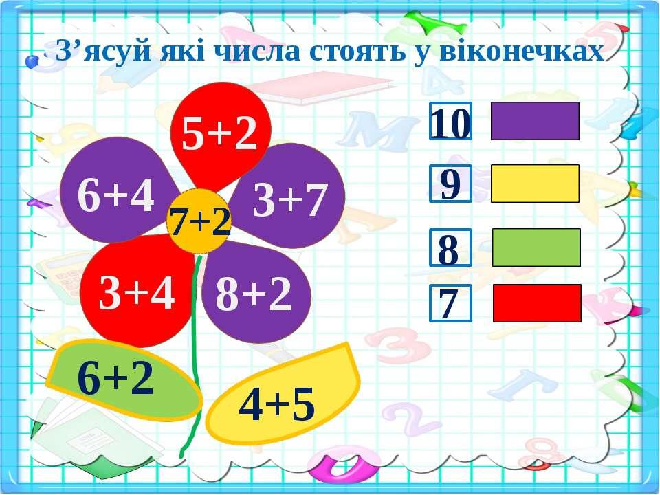 З'ясуй які числа стоять у віконечках 3+4 5+2 6+2 4+5 7+2 6+4 3+7 8+2 10 9 8 7