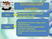 Батьківський всеобуч Формування педагогічної культури батьків Мета Задачі -фо...