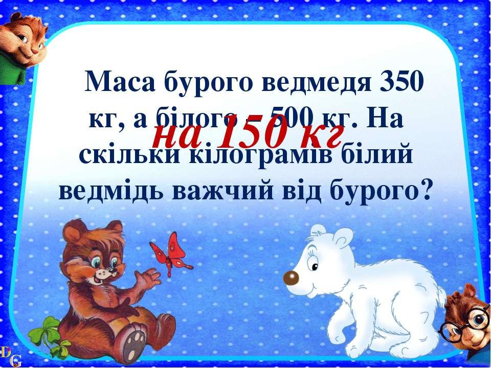 Маса бурого ведмедя 350 кг, а білого – 500 кг. На скільки кілограмів білий ве...