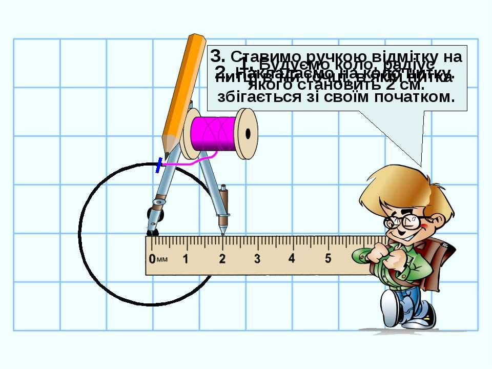 1. Будуємо коло, радіус якого становить 2 см. О 2. Накладаємо на коло нитку. ...