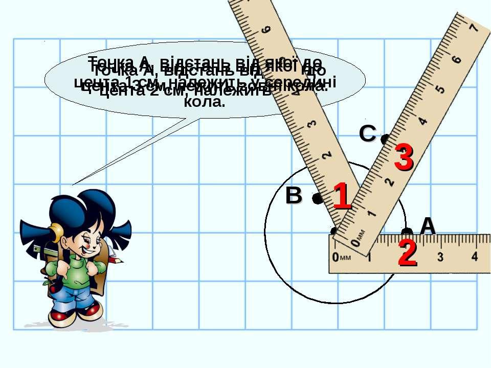 Точка А, відстань від якої до цента 2 см, належить колу. А 2 Точка А, відстан...