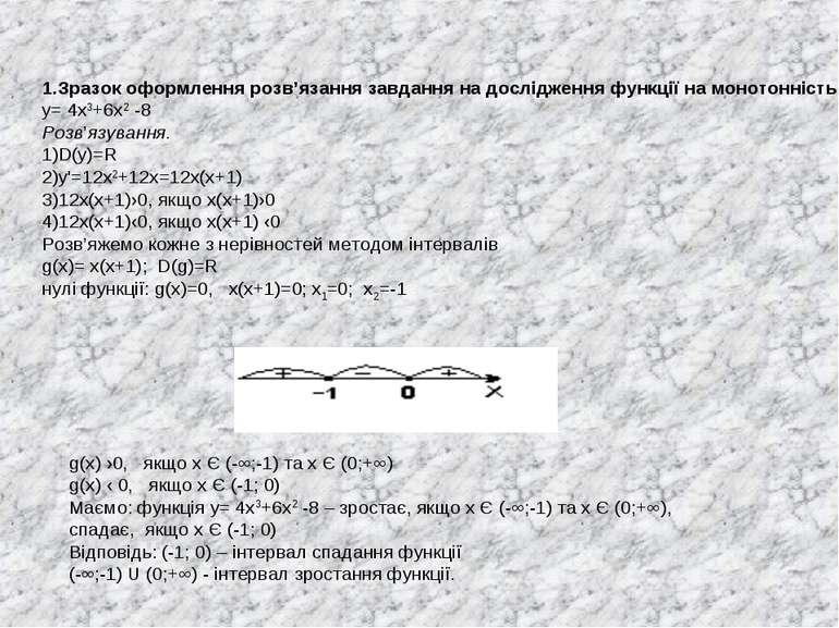 Зразок оформлення розв'язання завдання на дослідження функції на монотонність...