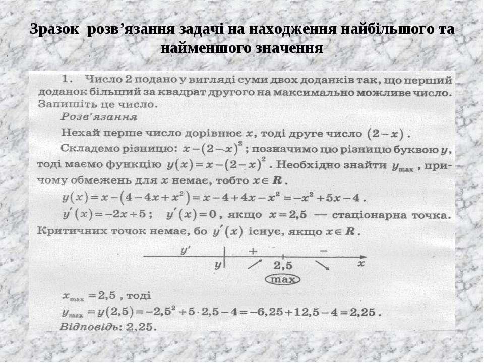 Зразок розв'язання задачі на находження найбільшого та найменшого значення