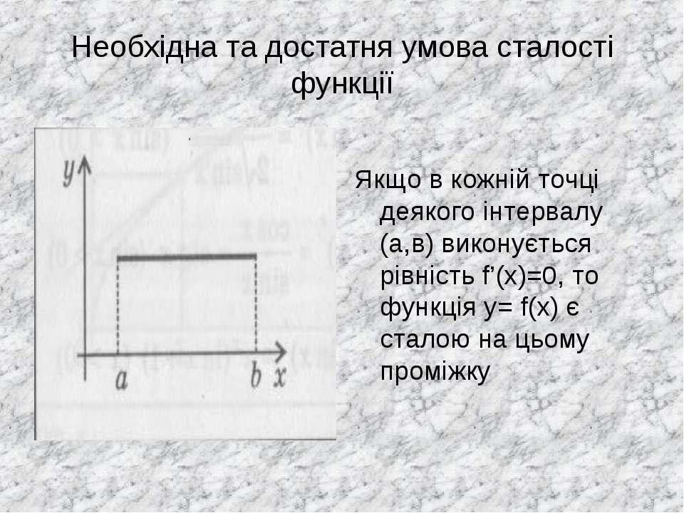 Необхідна та достатня умова сталості функції Якщо в кожній точці деякого інте...