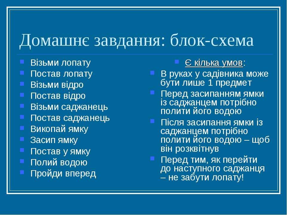 Домашнє завдання: блок-схема Візьми лопату Постав лопату Візьми відро Постав ...