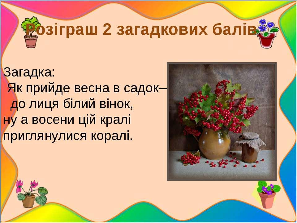 Розіграш 2 загадкових балів. Загадка: Як прийде весна в садок— до лиця біл...
