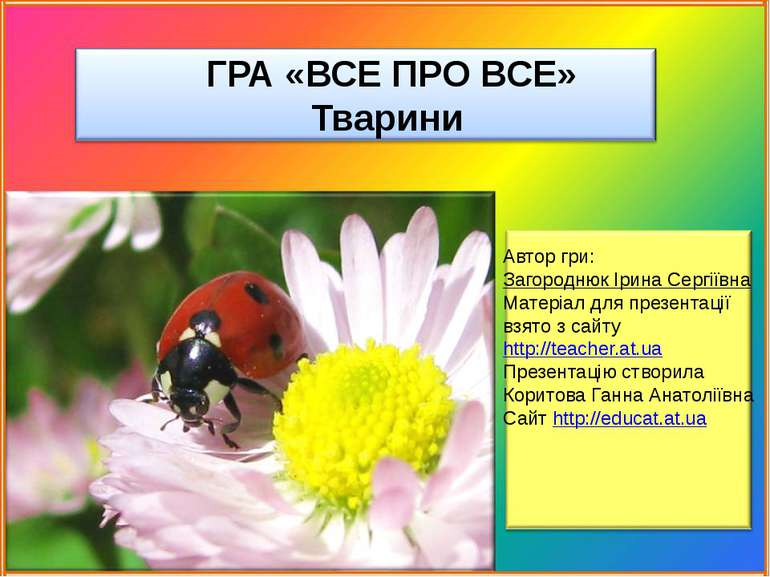 ГРА «ВСЕ ПРО ВСЕ» Тварини Автор гри: Загороднюк Ірина Сергіївна Матеріал дл...