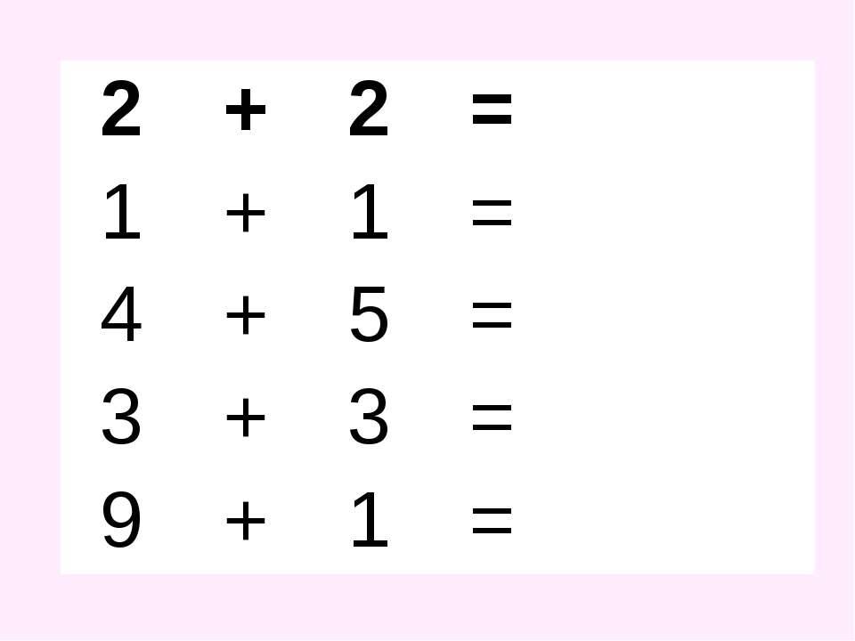 2 + 2 = 1 + 1 = 4 + 5 = 3 + 3 = 9 + 1 =
