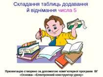 Складання таблиць додавання й віднімання числа 5 Презентацію створено за допо...