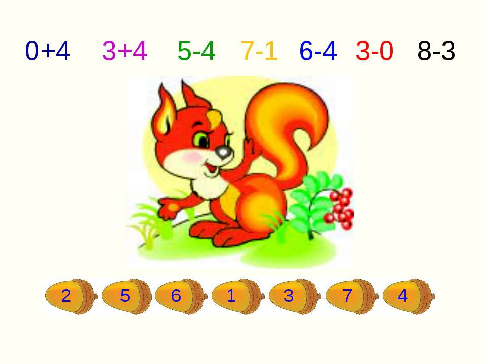2 5 6 1 3 7 4 0+4 3+4 5-4 7-1 6-4 3-0 8-3