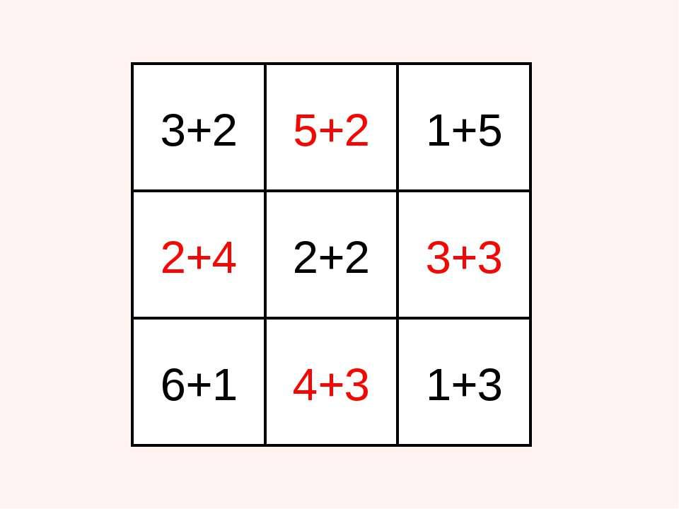 3+2 5+2 1+5 6+1 2+4 2+2 3+3 4+3 1+3