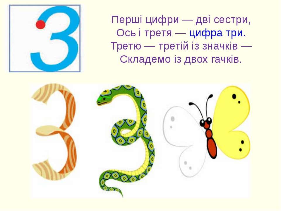 Перші цифри — дві сестри, Ось і третя — цифра три. Третю — третій із значків ...