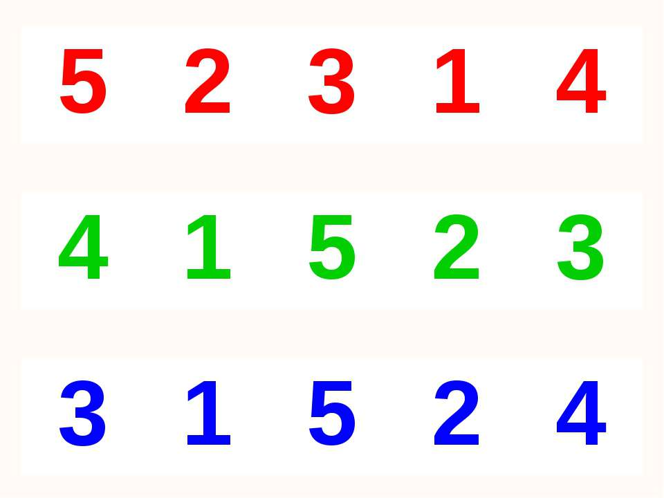 5 2 3 1 4 4 1 5 2 3 3 1 5 2 4