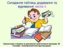 Складання таблиць додавання та віднімання числа 3 Презентацію створено за доп...
