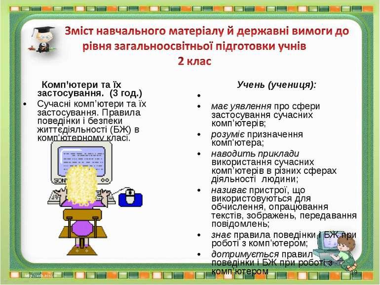 Комп'ютери та їх застосування. (3 год.) Сучасні комп'ютери та їх застосування...