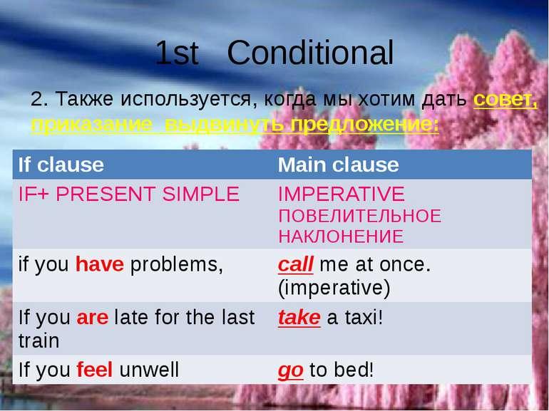 1st Conditional 2. Также используется, когда мы хотим дать совет, приказание ...