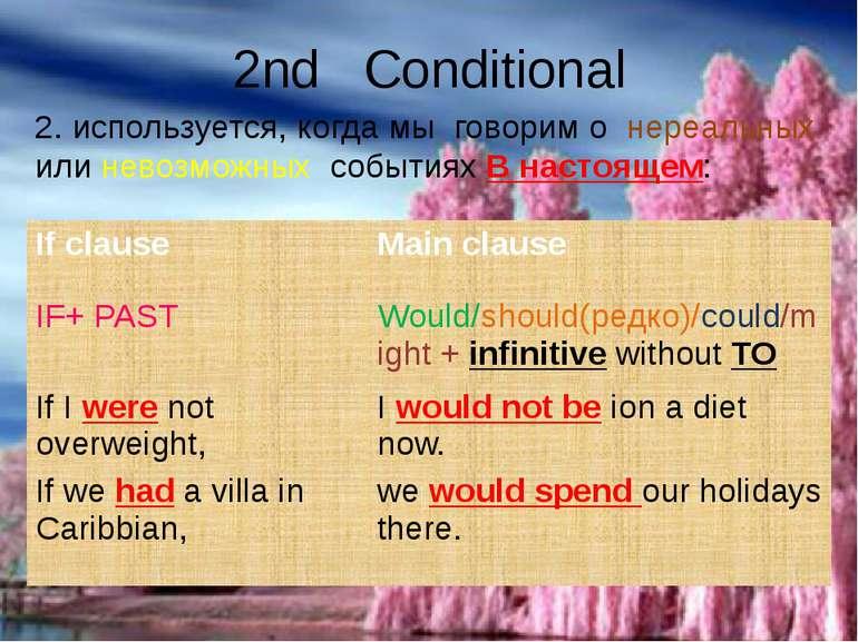 2nd Conditional 2. используется, когда мы говорим о нереальных или невозможны...