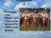 Population European-73% Maori- 12% Polynezian group-4 % Other etnic groups