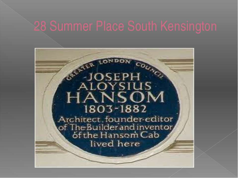 28 Summer Place South Kensington knowledgeoflondon.com/taxis.htm