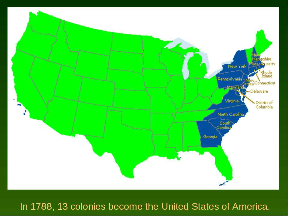 In 1788, 13 colonies become the United States of America.