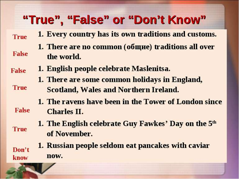 """True"", ""False"" or ""Don't Know"" True False False True False True Don't know E..."