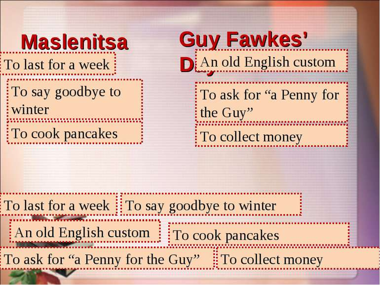 Maslenitsa Guy Fawkes' Day To last for a week To last for a week An old Engli...