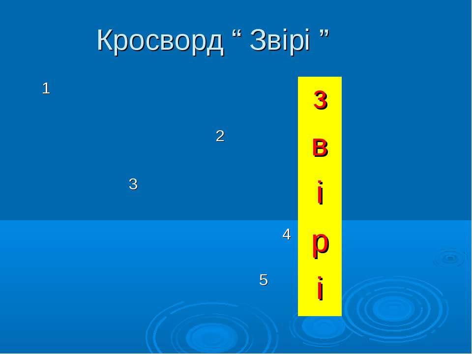 """Кросворд """" Звірі """" 1 з 2 в 3 і 4 р 5 і"""