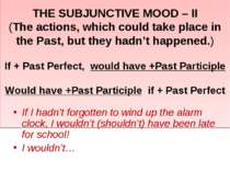 THE SUBJUNCTIVE MOOD – II (The actions, which could take place in the Past, b...