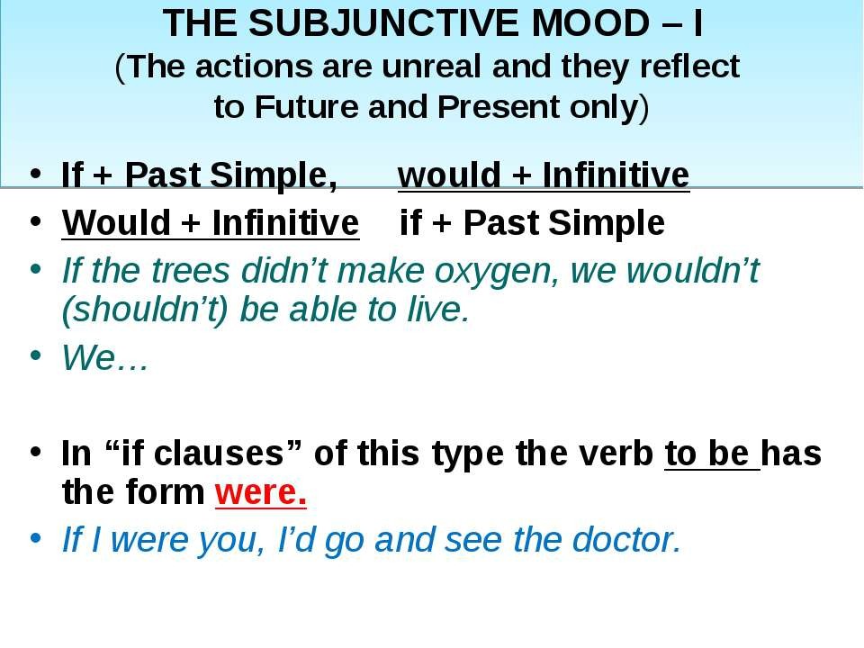 THE SUBJUNCTIVE MOOD – I (The actions are unreal and they reflect to Future a...