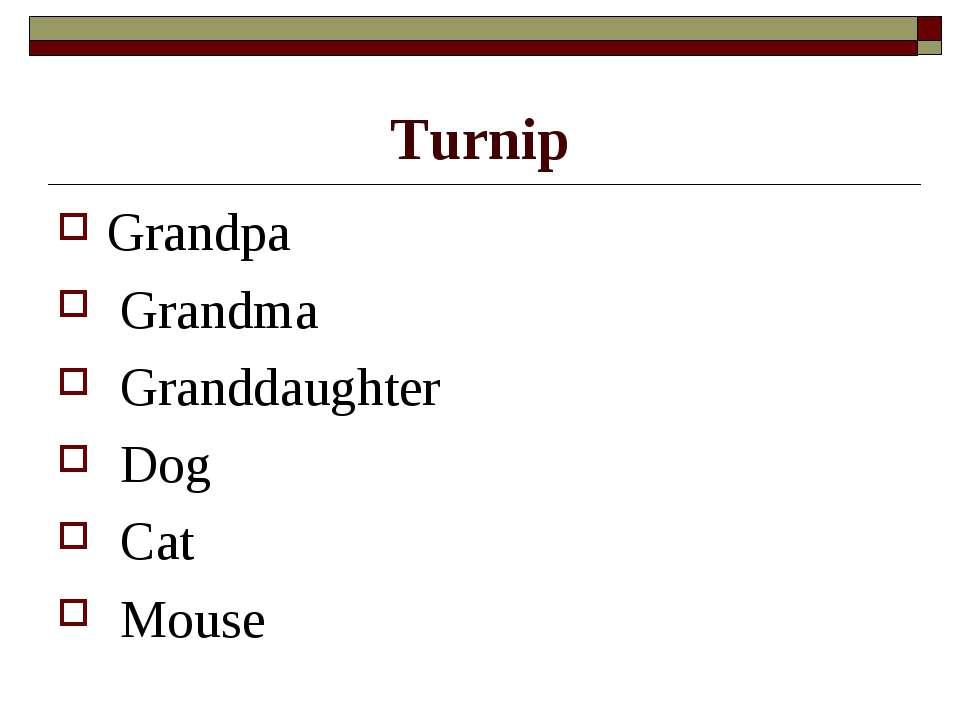 Turnip Grandpa Grandma Granddaughter Dog Cat Mouse