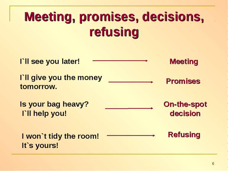 Meeting, promises, decisions, refusing I`ll see you later! Meeting I`ll give ...