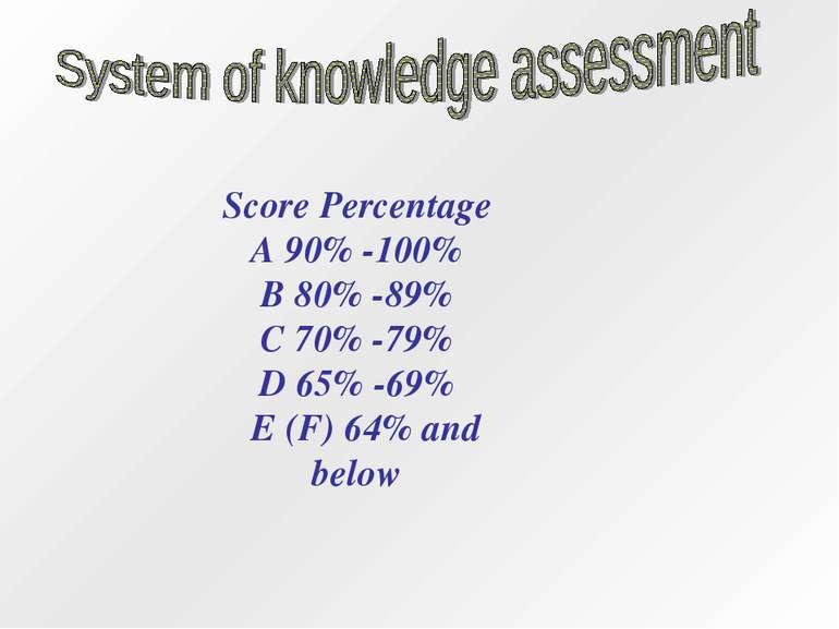 ScorePercentage A 90% -100% B 80%-89% C 70%-79% D 65%-69% E (F)64%and b...