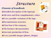 Structure Elementsof brandbook: Detailed description of the logotype All cor...