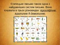 Єгипецьке письмо також одна з найдавніших систем письма. Вона існувала в трьо...