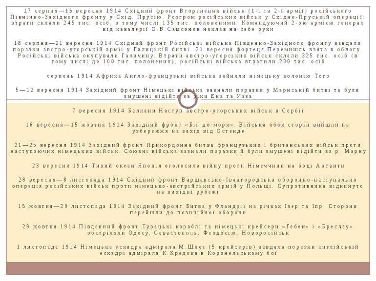 17 серпня—15 вересня 1914 Східний фронт Вторгнення військ (1-ї та 2-ї армії) ...
