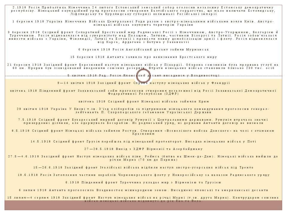 2.1918 Росія Прибалтика Німеччина 24 лютого Естонський земський собор оголоси...