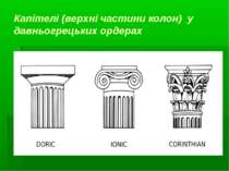 Капітелі (верхні частини колон) у давньогрецьких ордерах