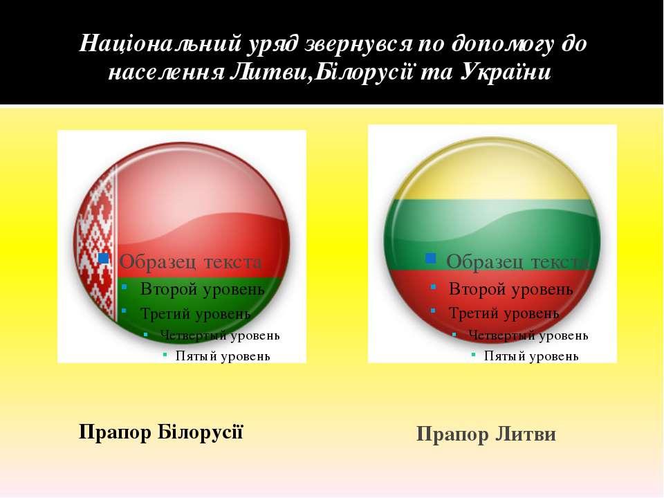 Національний уряд звернувся по допомогу до населення Литви,Білорусії та Украї...