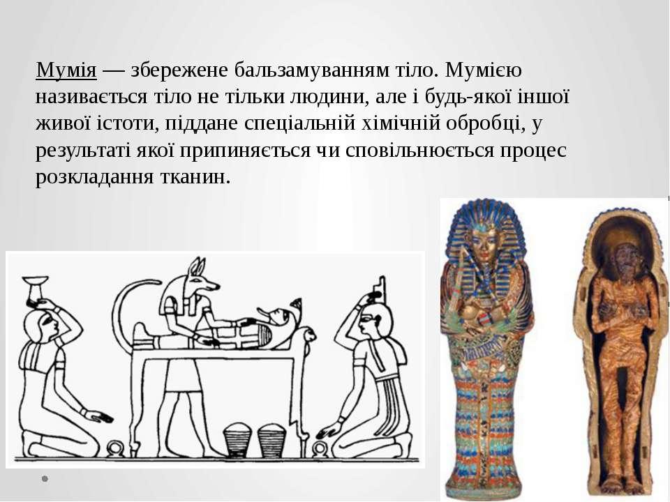 Мумія — збережене бальзамуванням тіло. Мумією називається тіло не тільки люди...
