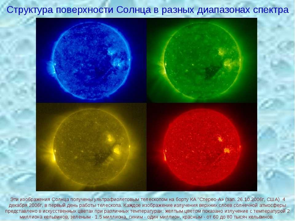 Структура поверхности Солнца в разных диапазонах спектра Эти изображения Солн...