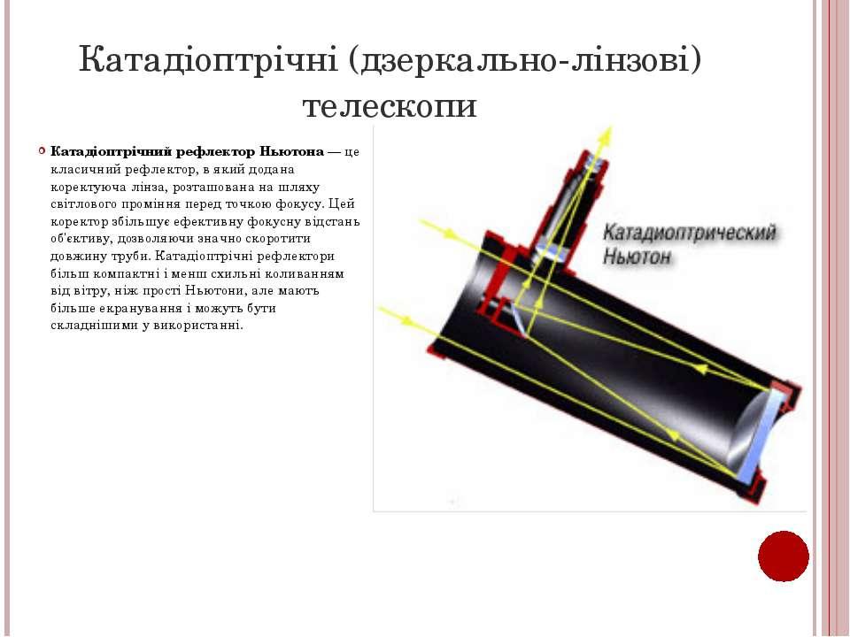 Катадіоптрічні (дзеркально-лінзові) телескопи Катадіоптрічний рефлектор Ньюто...