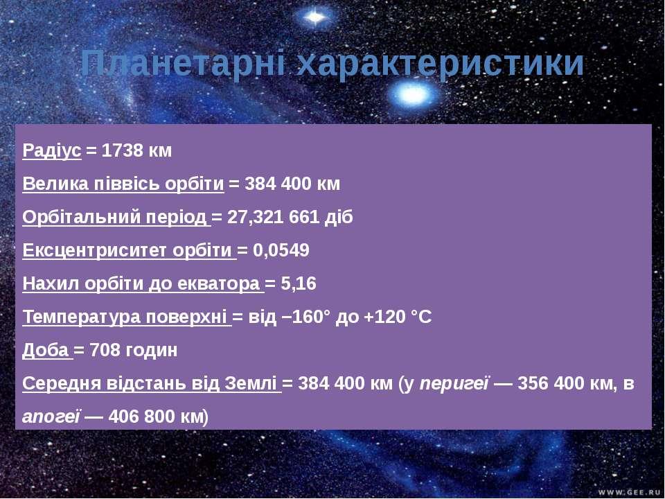 Радіус = 1738 км Велика піввісь орбіти = 384 400 км Орбітальний період = 27,3...
