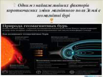 Одним з найважливіших факторів короткочасних зміни магнітного поля Землі є ге...