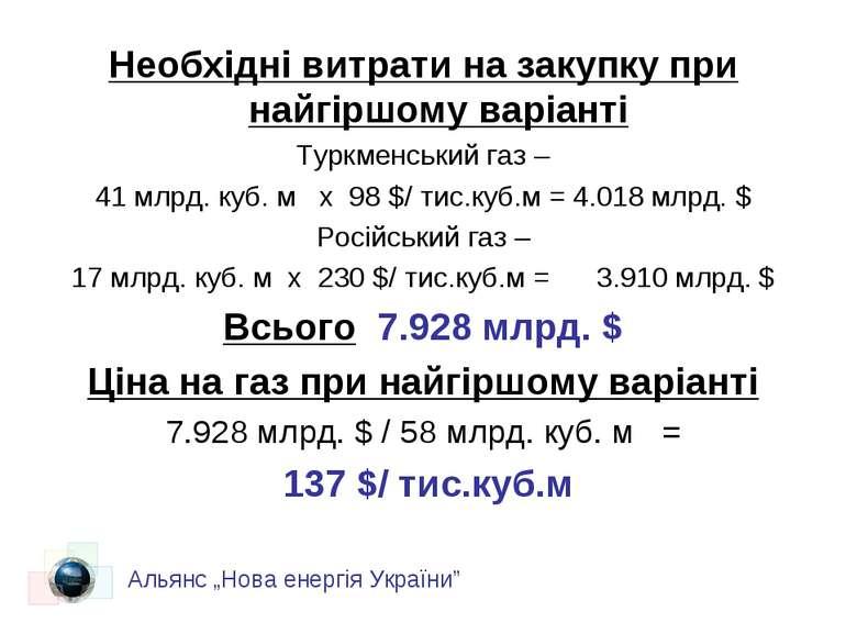 Необхідні витрати на закупку при найгіршому варіанті Туркменський газ – 41 мл...