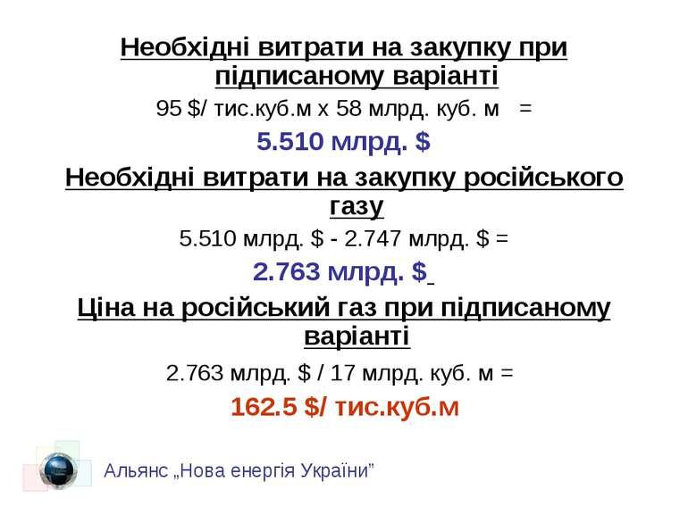 Необхідні витрати на закупку при підписаному варіанті 95 $/ тис.куб.м х 58 мл...