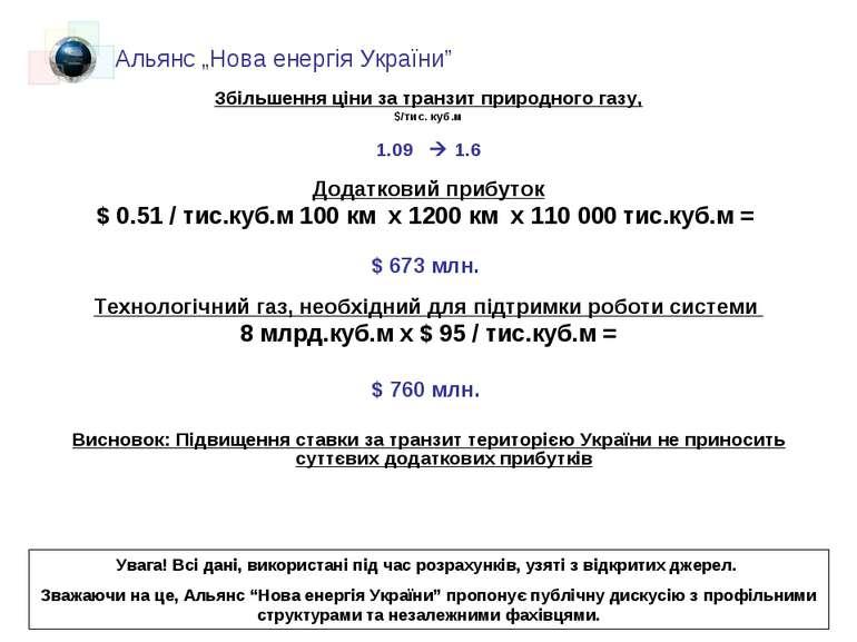 Збільшення ціни за транзит природного газу, $/тис. куб.м 1.09 1.6 Додатковий ...