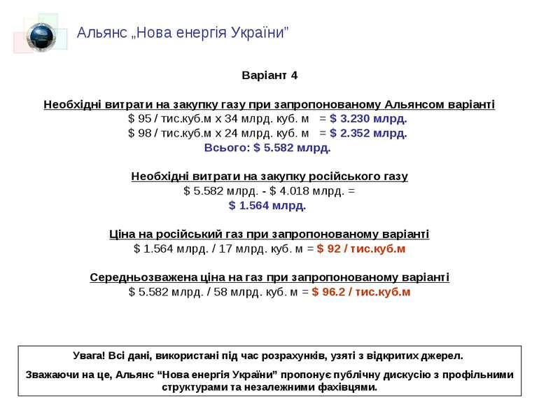 Варіант 4 Необхідні витрати на закупку газу при запропонованому Альянсом варі...