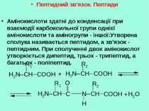 Пептидний зв'язок. Пептиди Амінокислоти здатні до конденсації при взаємодії к...