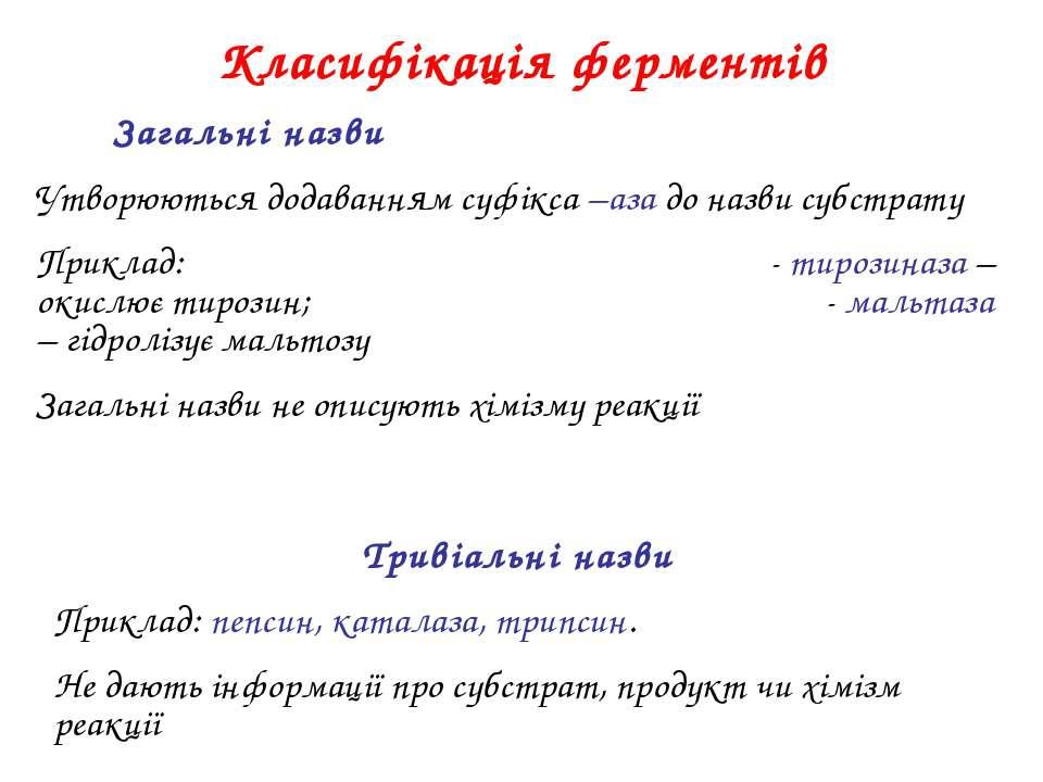 Класифікація ферментів Загальні назви Утворюються додаванням суфікса –аза до ...